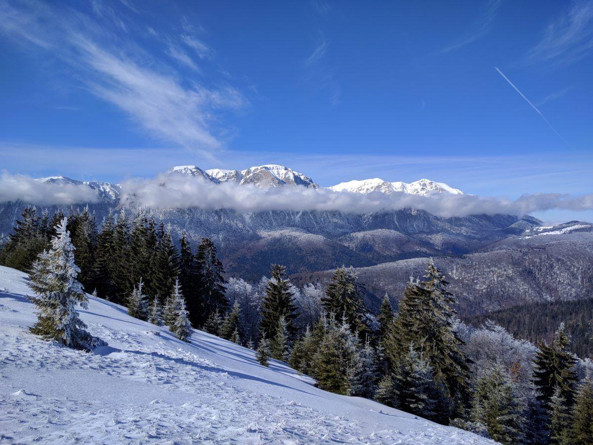 View over Bucegi Mountains from Baiului Mountains