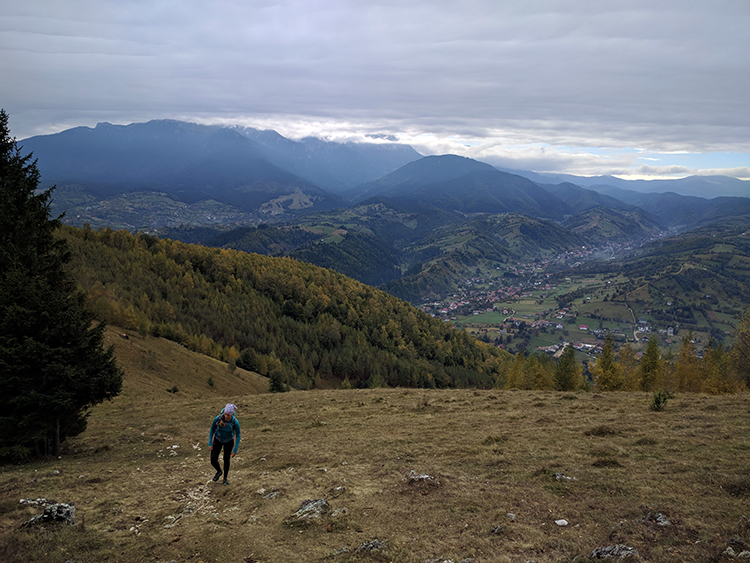 View of Bucegi Mountains, 30 minutes from the start of the hike