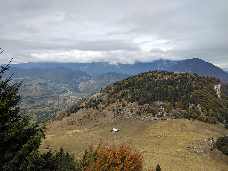 View of Piatra Craiului Mountains from Varful Prislop