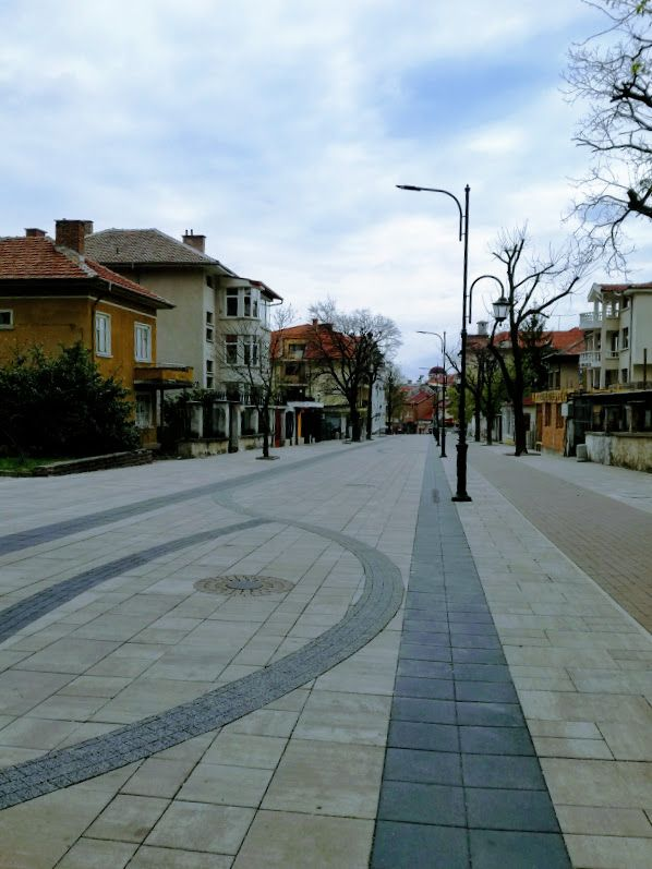 The street leading to the train station in Karlovo.