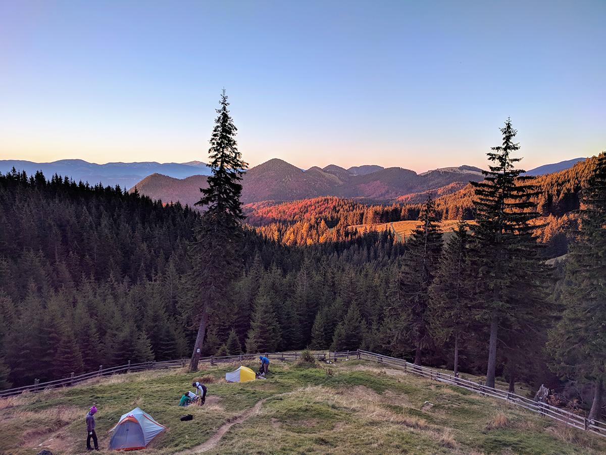 View from Cabana Curamtura, Piatra Craiului Mountains, Romania