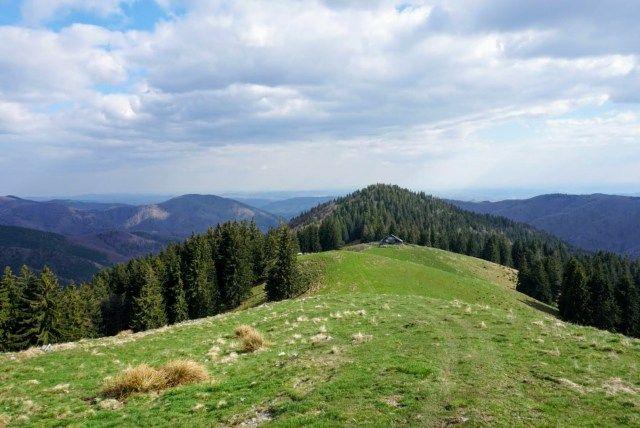 In the distance you can spot the sheepfold near Cabana Leaota Hut