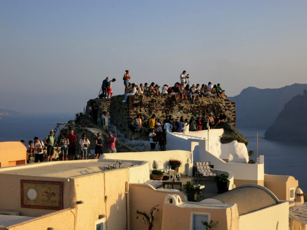 Watching the sunset from the ruins of Oia Castle
